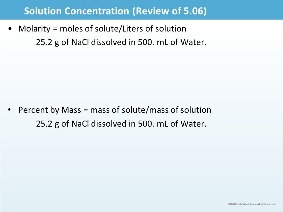 Assignment 507 Solution Stoichiometry Solution Concentration