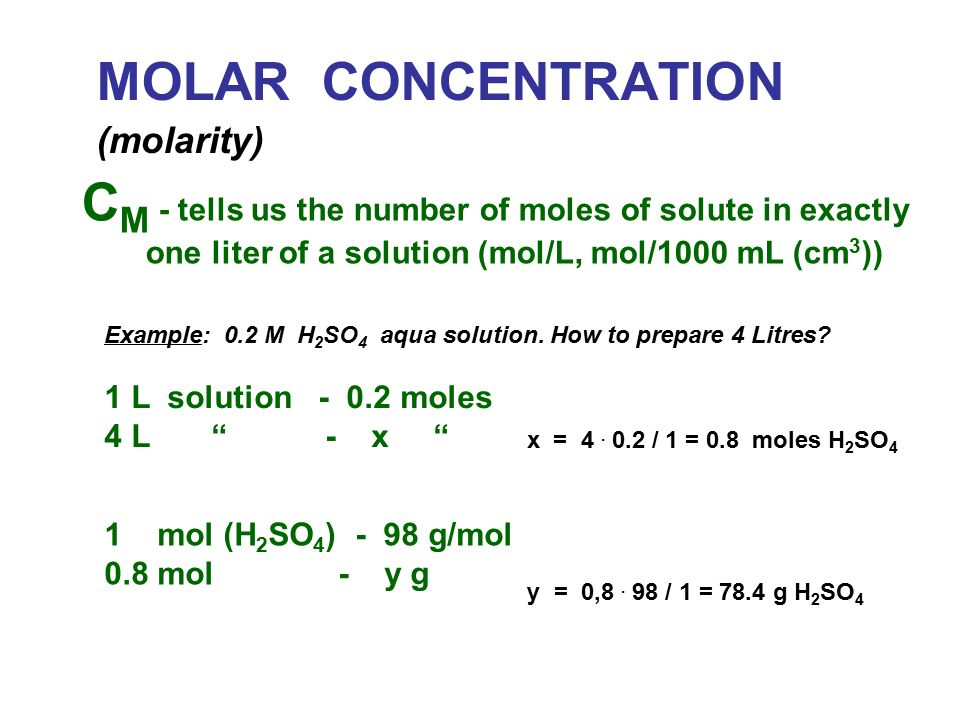 Molar Concentration Molarity C M Tells Us The Number Of Moles Of Solute In