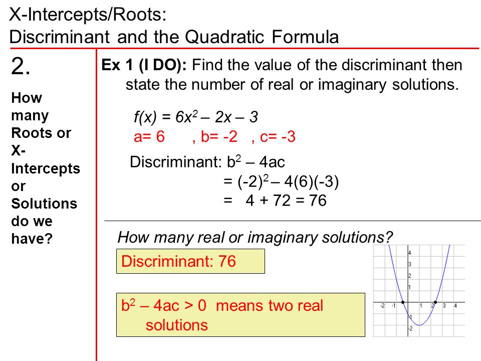 X-Intercepts/Roots: Discriminant and the Quadratic Formula f(x) = 6x 2 – 2x – 3 a= 6, b= -2, c= -3 Ex 1 (I DO): Find the value of the discriminant then state the number of real or imaginary solutions.