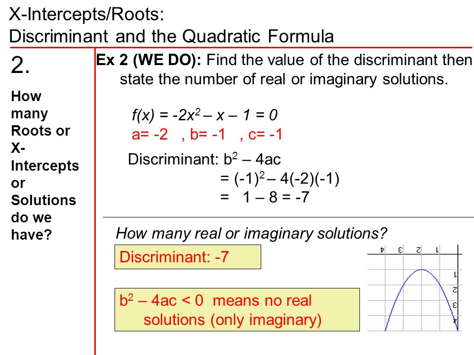 X-Intercepts/Roots: Discriminant and the Quadratic Formula f(x) = -2x 2 – x – 1 = 0 a= -2, b= -1, c= -1 Ex 2 (WE DO): Find the value of the discriminant then state the number of real or imaginary solutions.