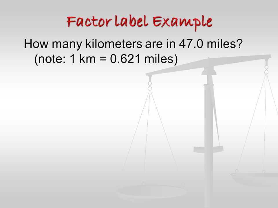 Measurement In Chemistry Factor Label Method The Factor Label Method