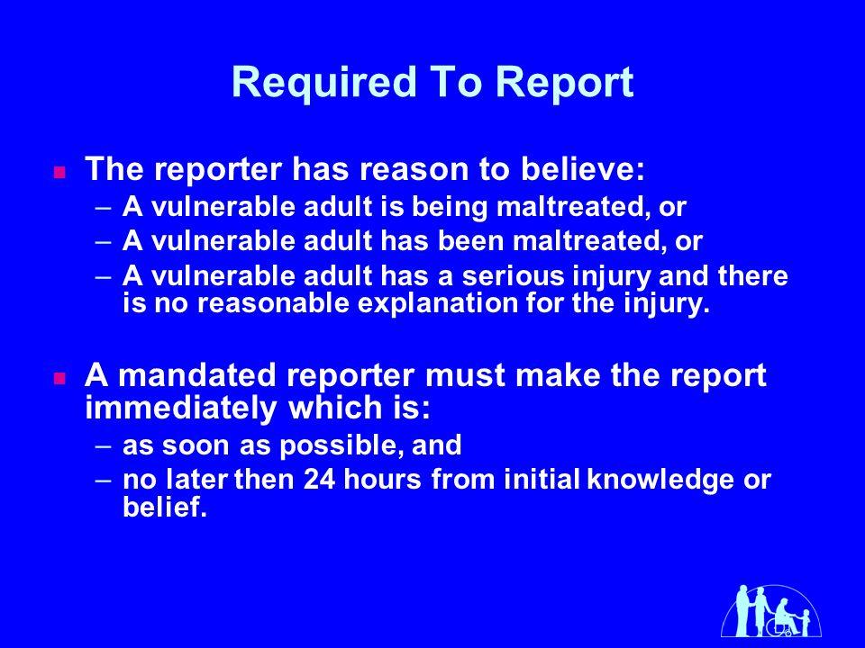 Adult mandated minnesota reporter vulnerable