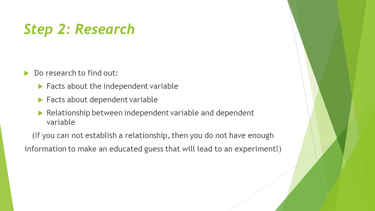 Step 2: Research  Do research to find out:  Facts about the independent variable  Facts about dependent variable  Relationship between independent variable and dependent variable (If you can not establish a relationship, then you do not have enough information to make an educated guess that will lead to an experiment!)