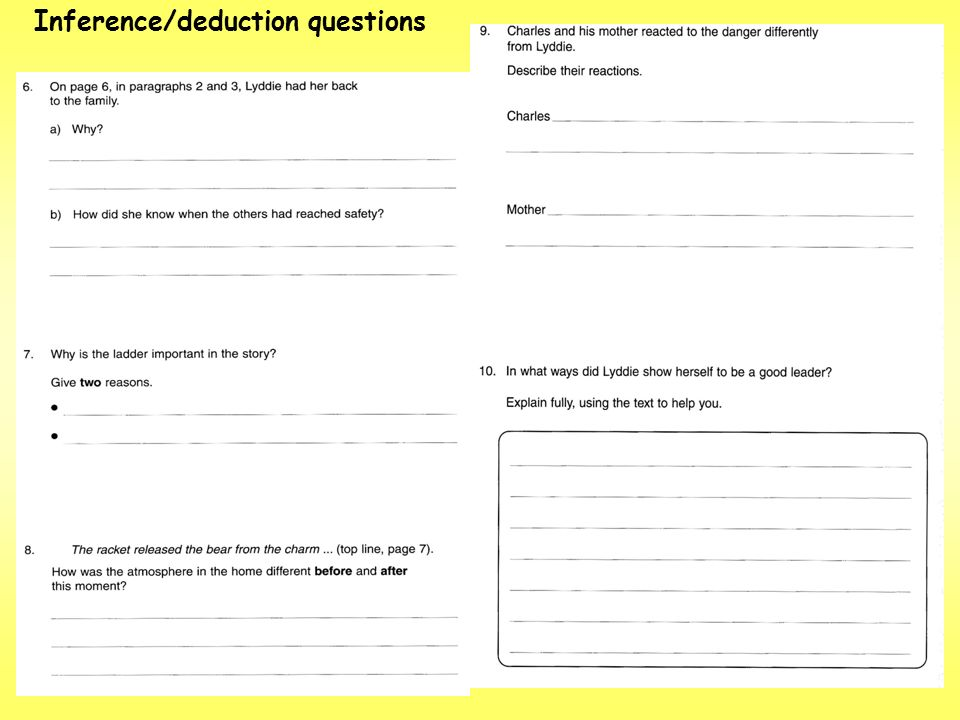 Inference/deduction questions