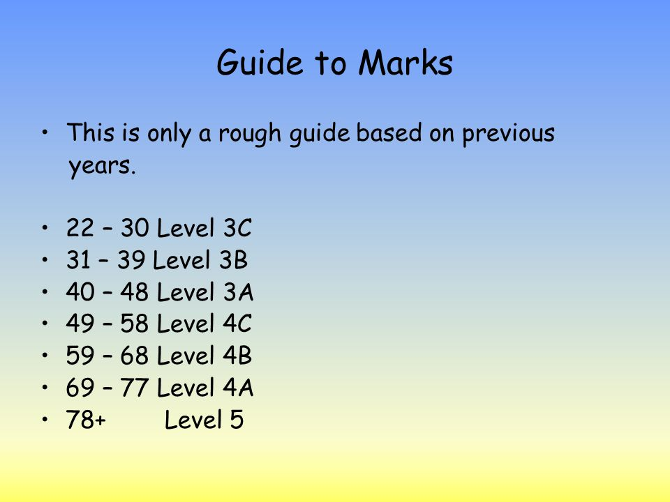 Guide to Marks This is only a rough guide based on previous years.