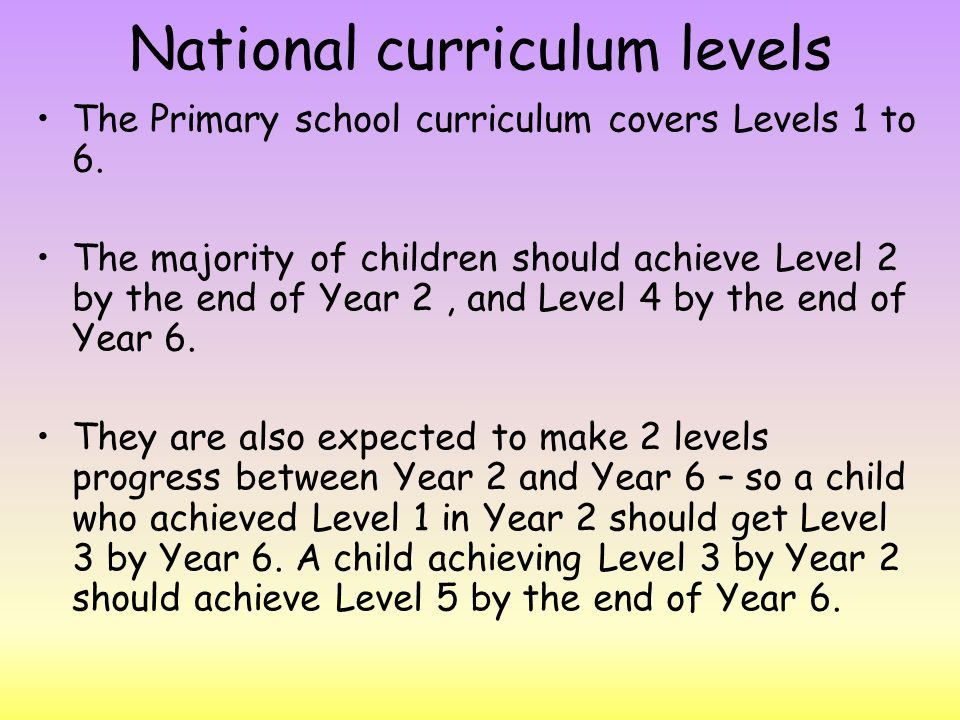 National curriculum levels The Primary school curriculum covers Levels 1 to 6.