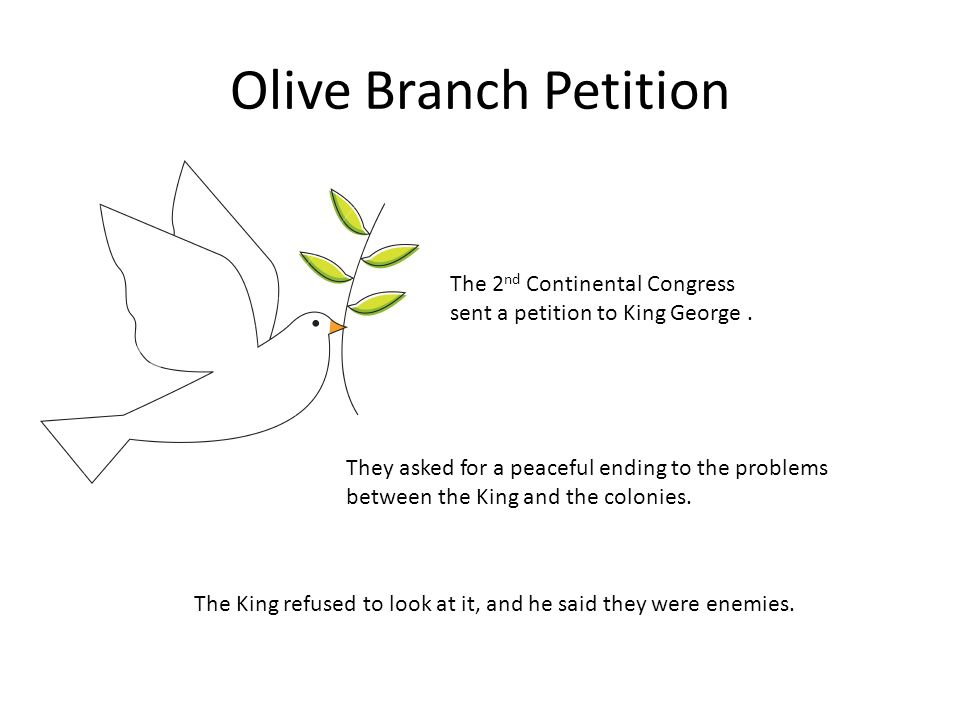 Olive Branch Petition The 2 nd Continental Congress sent a petition to King George.