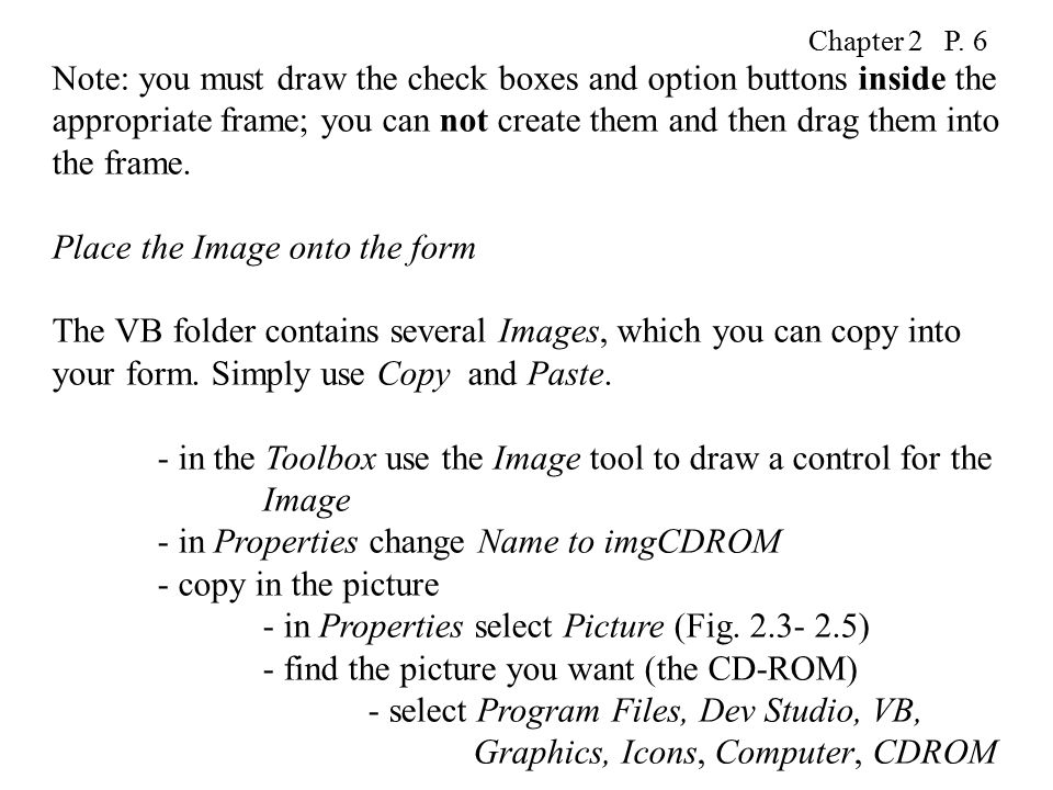 Chapter 2 P  1 Introducing more controls (on the Toolbox) (Fig  2 1