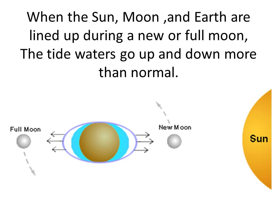 When the Sun, Moon,and Earth are lined up during a new or full moon, The tide waters go up and down more than normal.