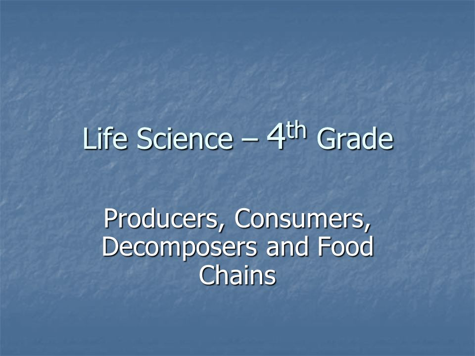 Life Science – 4 th Grade Producers, Consumers, Decomposers and Food Chains