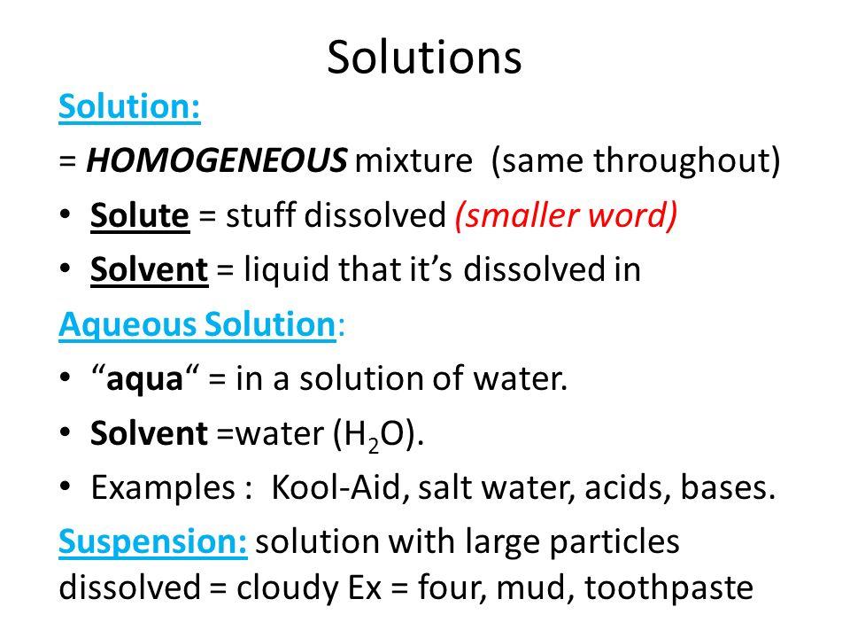 Aqueous solution examples.
