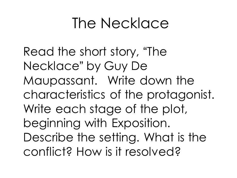 the setting of the story the necklace