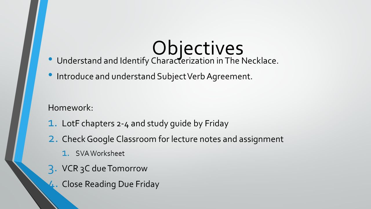 Workbooks subject verb agreement worksheets 9th grade : Characterization and SVA Day 18. Objectives Understand and ...