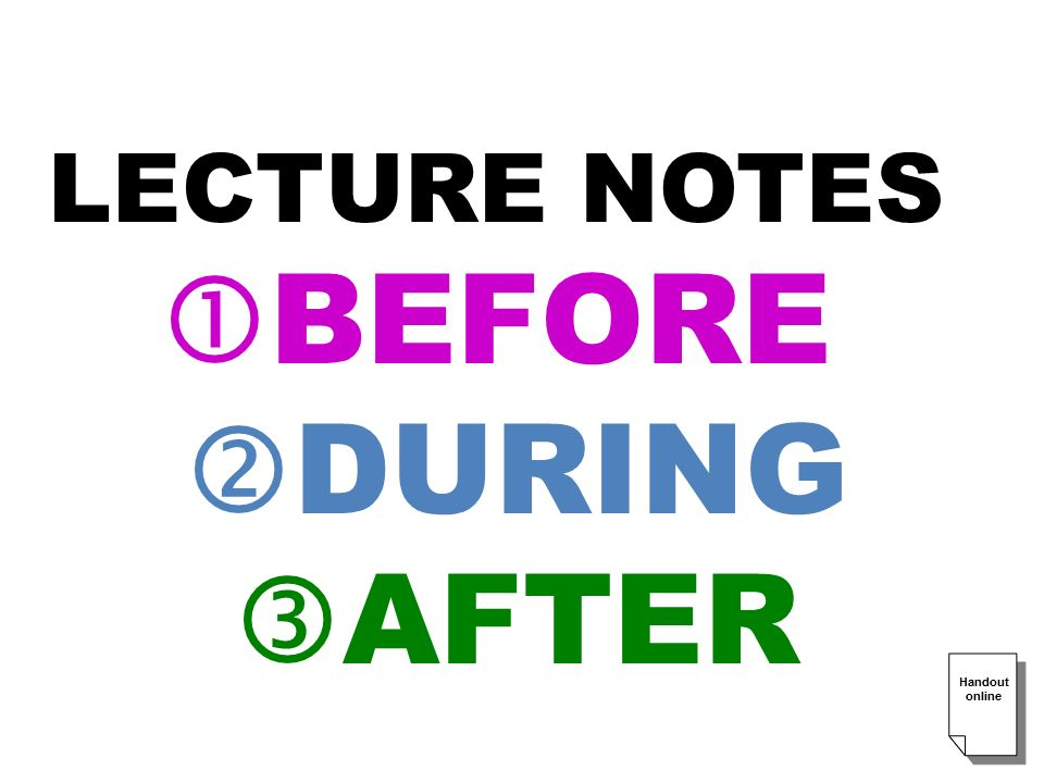 LECTURE NOTES  BEFORE  DURING  AFTER Handout online