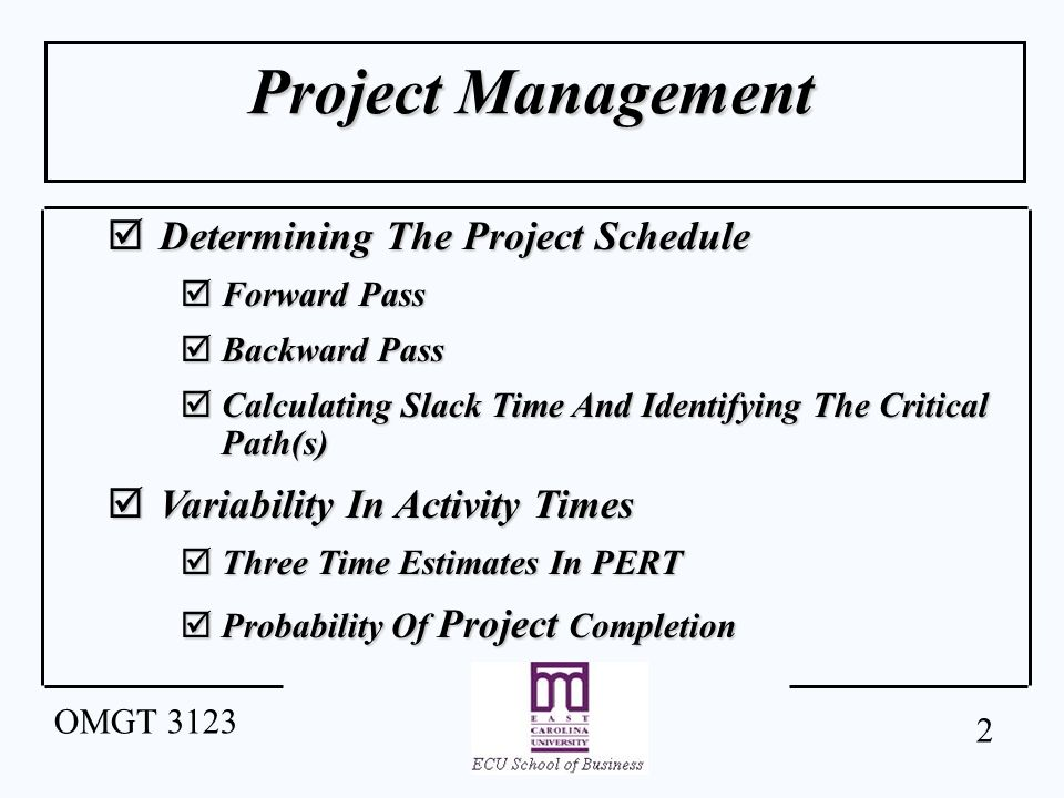 1 Omgt 3123 Project Management Project Controlling Project