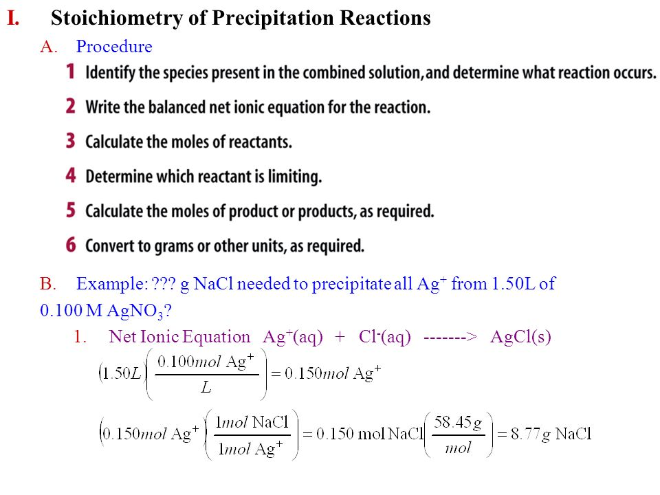 stoichiometry of precipitation reactions