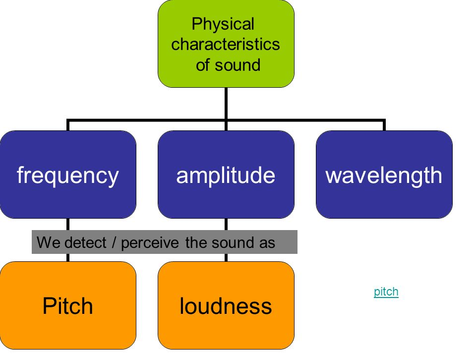 Physical characteristics of sound frequency Pitch amplitude loudness wavelength We detect / perceive the sound as pitch