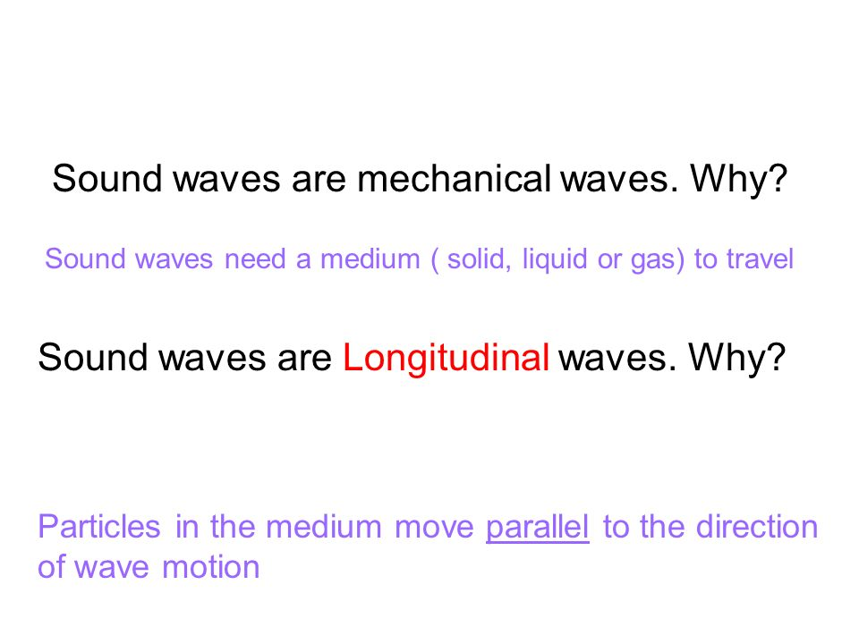 Sound waves are Longitudinal waves. Why.