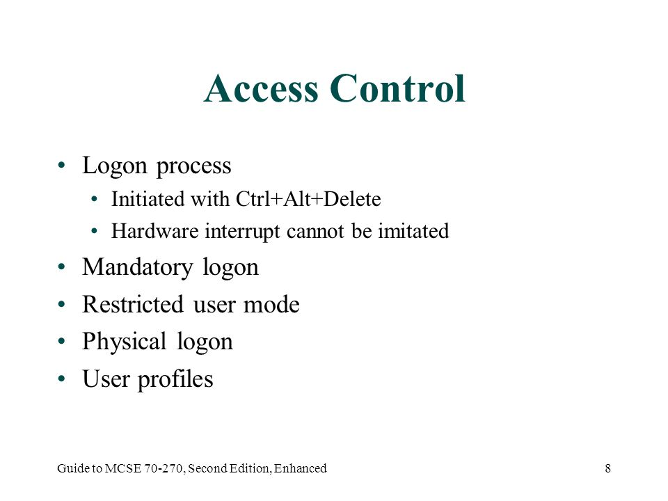 Guide to MCSE , Second Edition, Enhanced1 The Windows XP Security