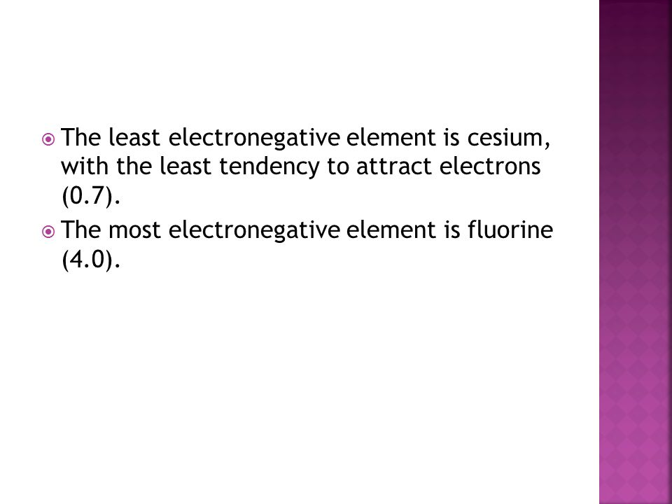  The least electronegative element is cesium, with the least tendency to attract electrons (0.7).