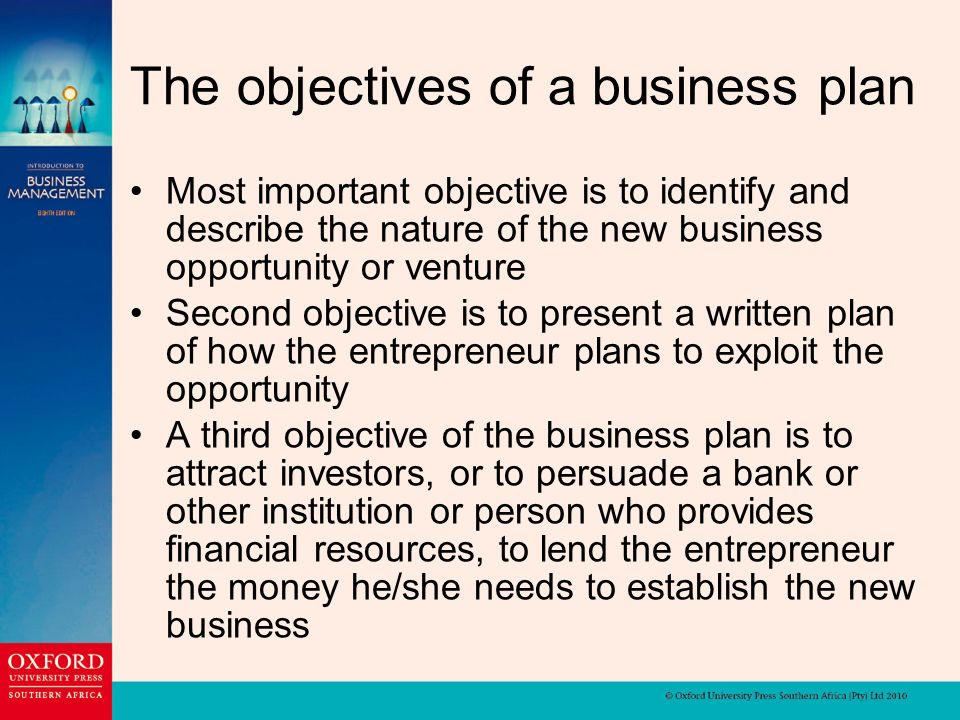 important objective of a business plan