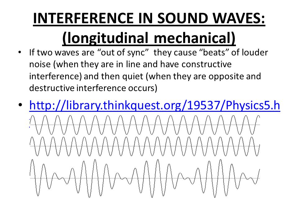 INTERFERENCE IN SOUND WAVES: (longitudinal mechanical) If two waves are out of sync they cause beats of louder noise (when they are in line and have constructive interference) and then quiet (when they are opposite and destructive interference occurs)   tml   tml