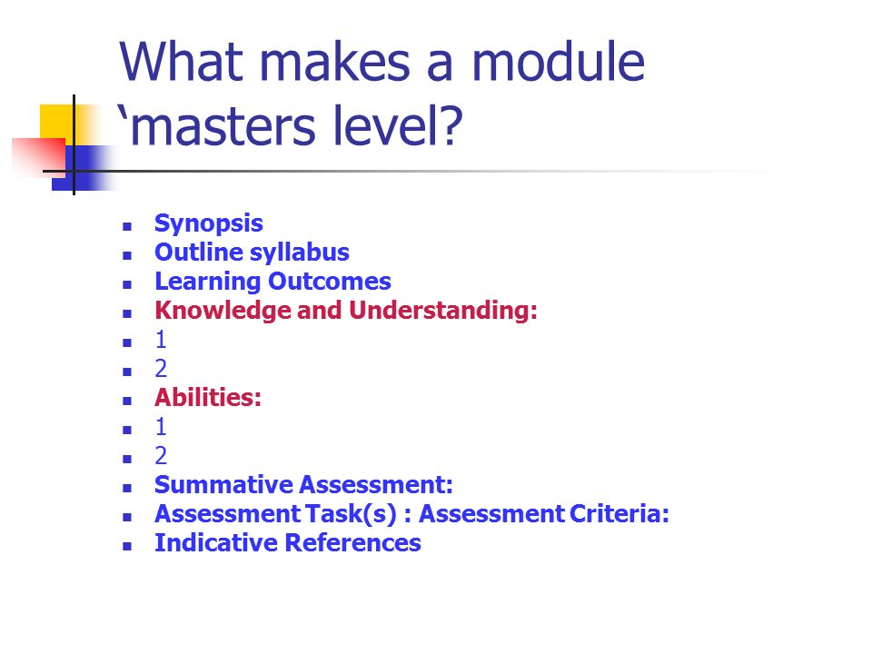 Masters Level Modules Ros Ollin School of Education and Professional