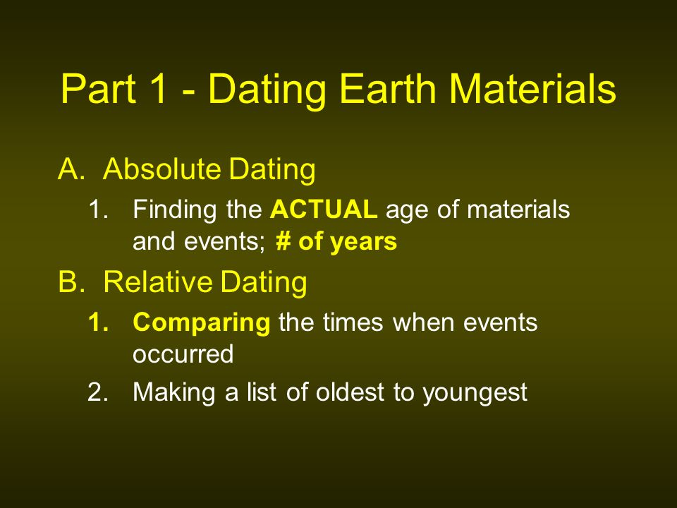 Compare relative dating and absolute dating of earths materials