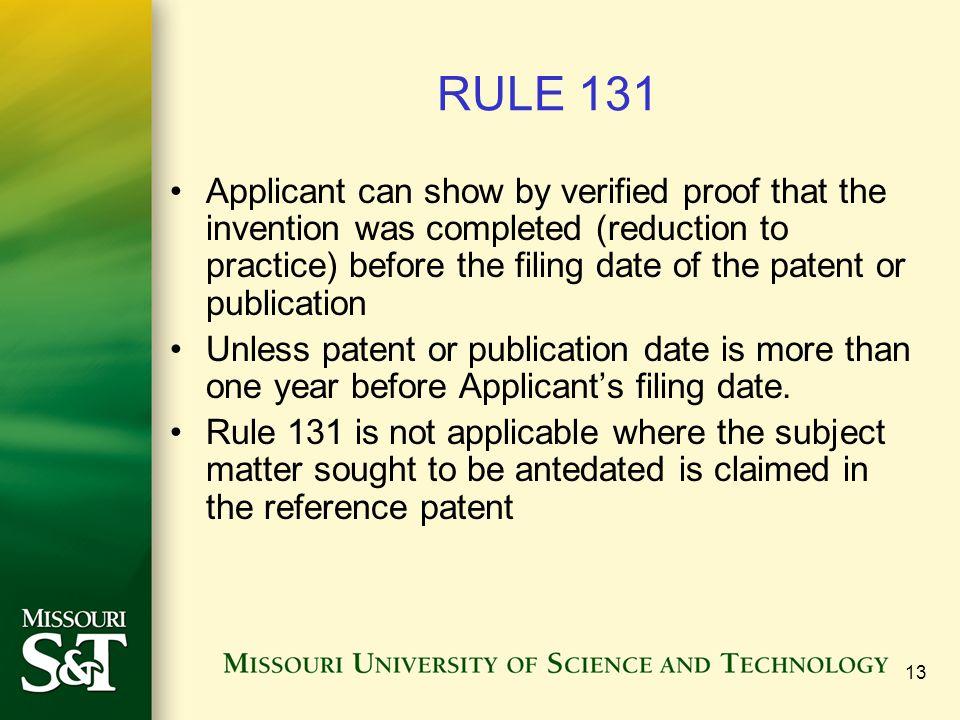 Antedating reference patent