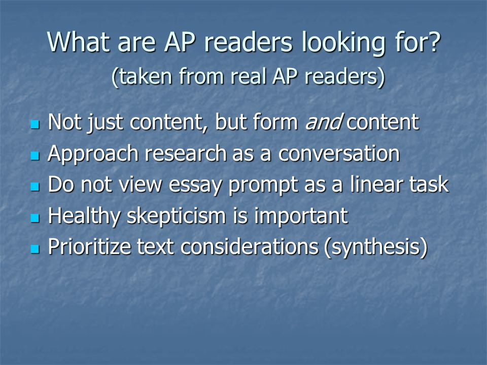 What are AP readers looking for.