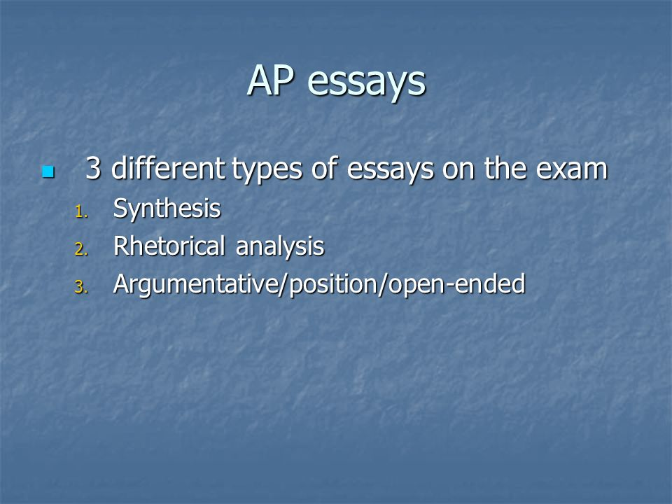 AP essays 3 different types of essays on the exam 3 different types of essays on the exam 1.