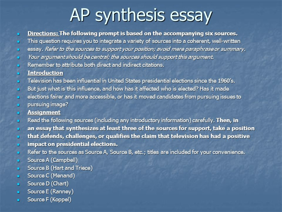 AP synthesis essay Directions: The following prompt is based on the accompanying six sources.