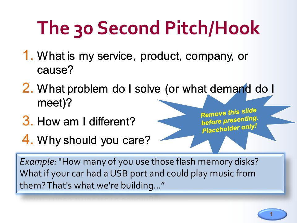 1 1  What is my service, product, company, or cause? 2  What problem