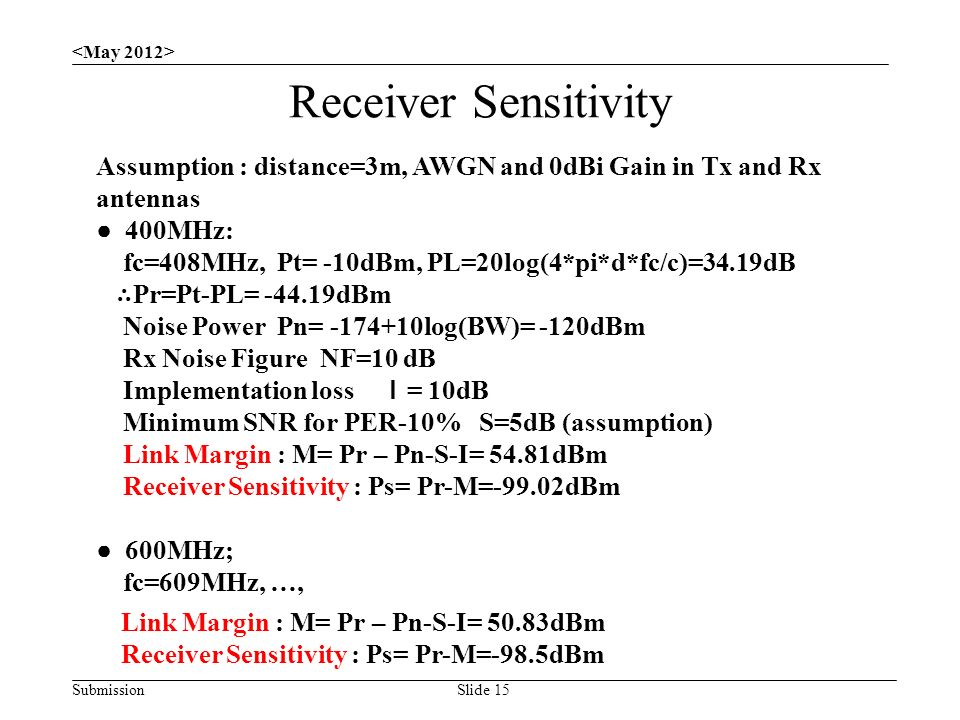 Submission Receiver Sensitivity Slide 15 Assumption : distance=3m, AWGN and 0dBi Gain in Tx and Rx antennas ● 400MHz: fc=408MHz, Pt= -10dBm, PL=20log(4*pi*d*fc/c)=34.19dB ∴ Pr=Pt-PL= dBm Noise Power Pn= log(BW)= -120dBm Rx Noise Figure NF=10 dB Implementation loss I = 10dB Minimum SNR for PER-10% S=5dB (assumption) Link Margin : M= Pr – Pn-S-I= 54.81dBm Receiver Sensitivity : Ps= Pr-M=-99.02dBm ● 600MHz; fc=609MHz, …, Link Margin : M= Pr – Pn-S-I= 50.83dBm Receiver Sensitivity : Ps= Pr-M=-98.5dBm
