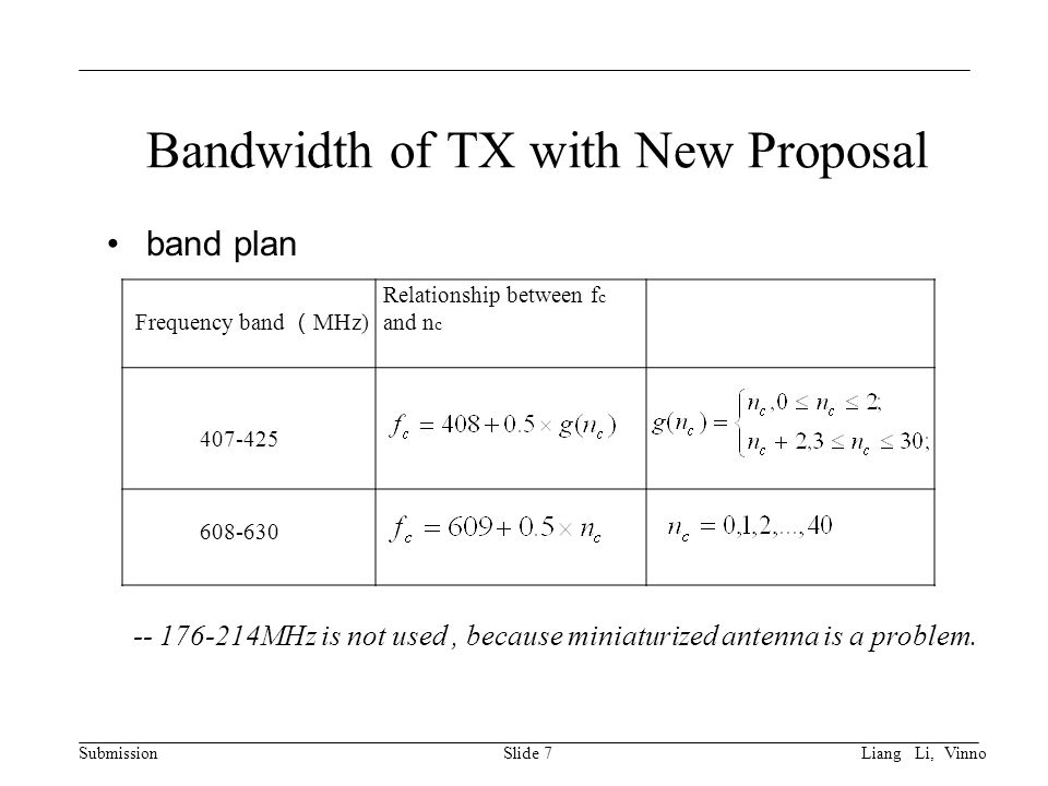 Submission Bandwidth of TX with New Proposal band plan Slide 7 Frequency band ( MHz) Relationship between f c and n c MHz is not used, because miniaturized antenna is a problem.
