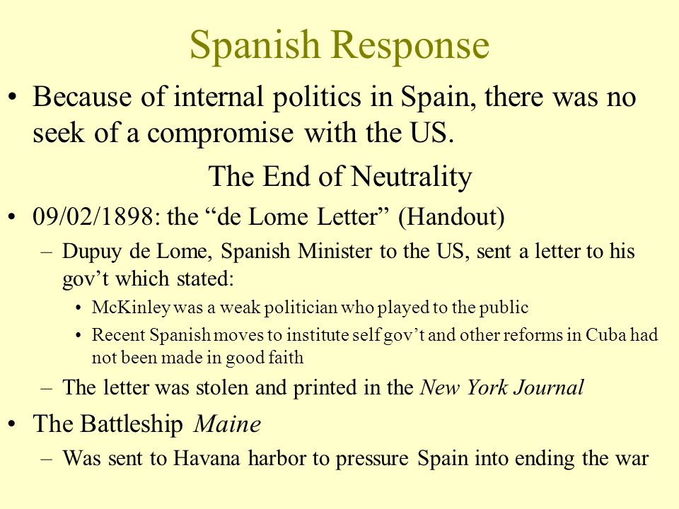 Spanish American War 1898 Cuba had been under Spanish control for