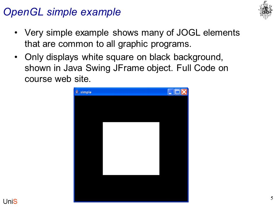 UniS CS297 Graphics with Java and OpenGL Basic Definitions