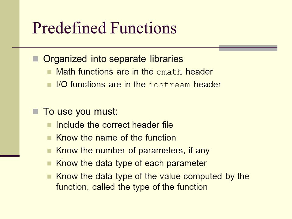 Chapter 6 User-Defined Functions I  Objectives Standard