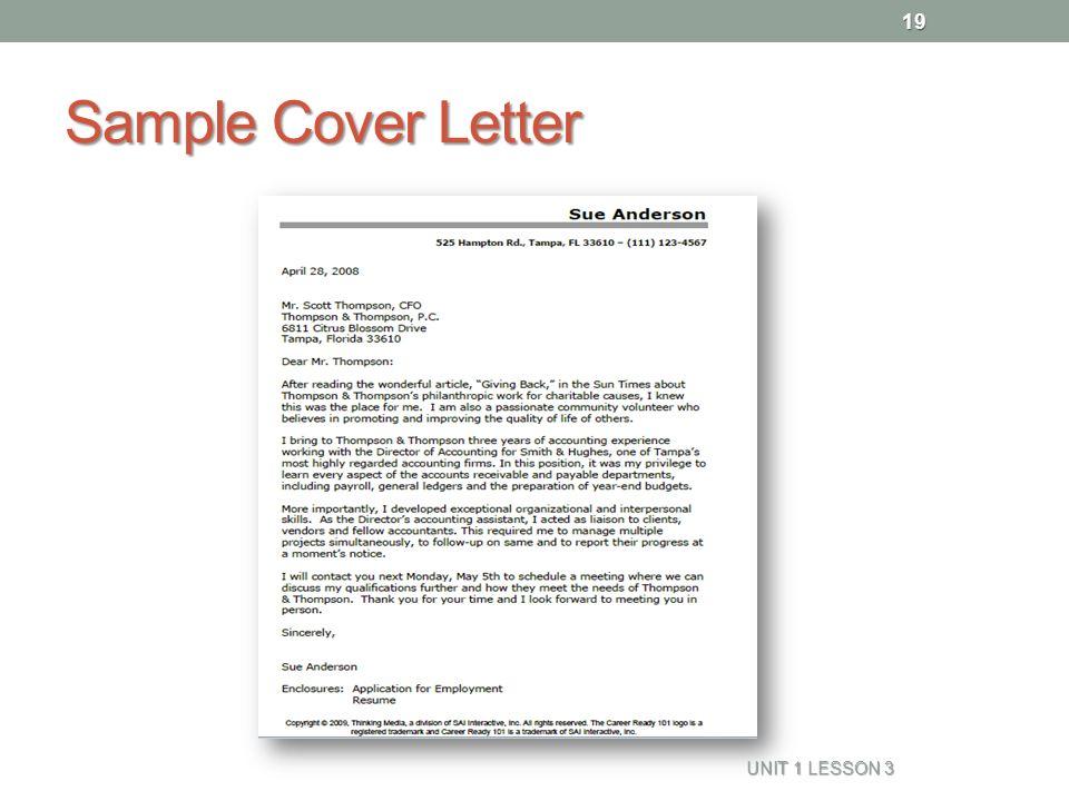 19 sample cover letter unit 1 lesson 3 19