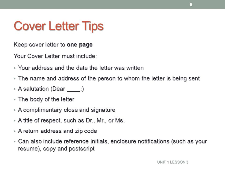 Superb 8 Cover Letter Tips Keep Cover Letter To One Page ...