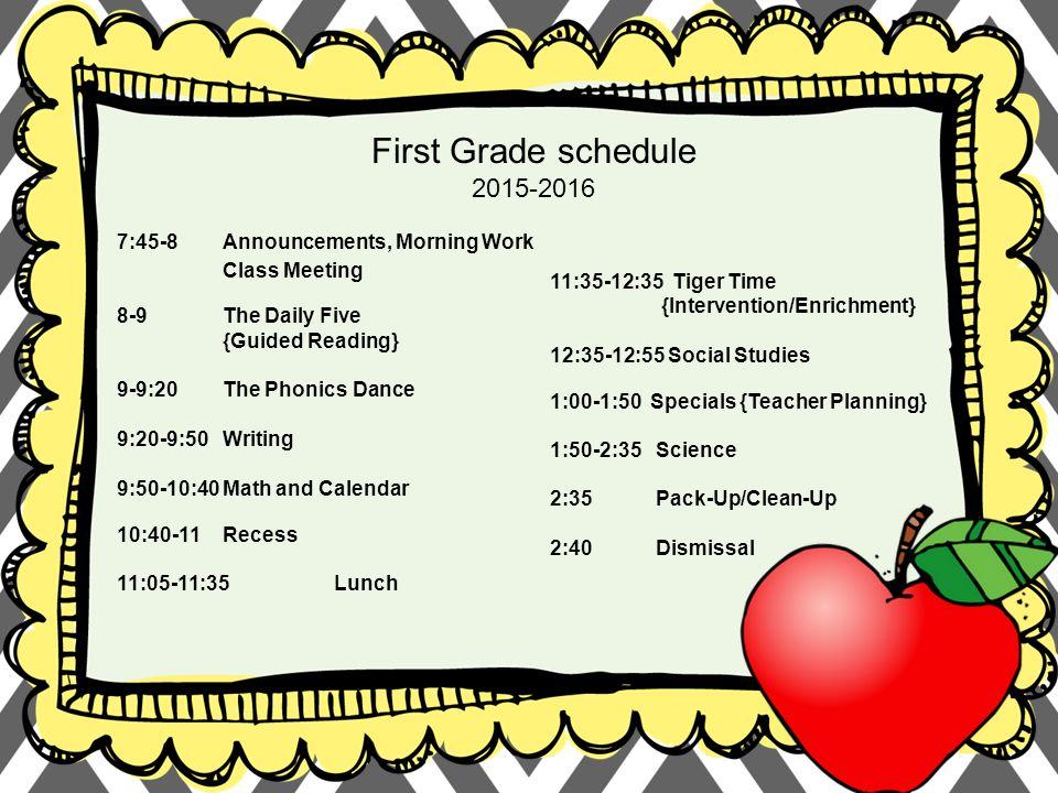 West Cypress Hills Elementary First Grade schedule :45-8