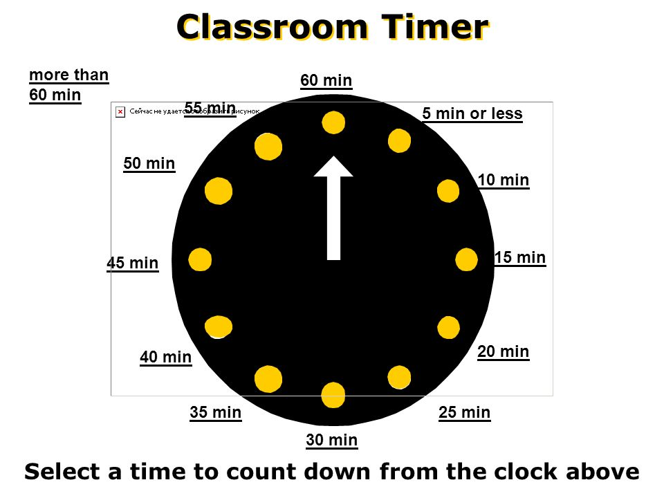 2 classroom timer select a time to count down from the clock above 60 min 45 min 30 min 20 min 15 min 10 min 5 min or less 25 min 55 min 50 min 40 min 35
