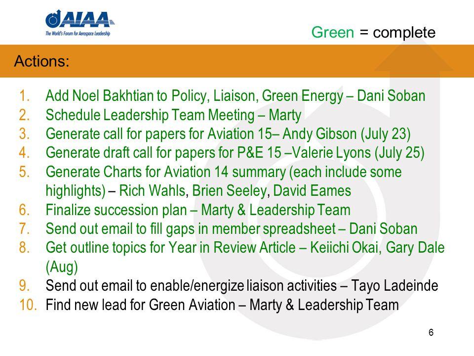 Green Engineering PC Leadership Team Meeting Oct 13, 2014