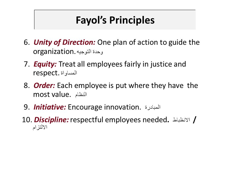 6. Unity of Direction: One plan of action to guide the organization.
