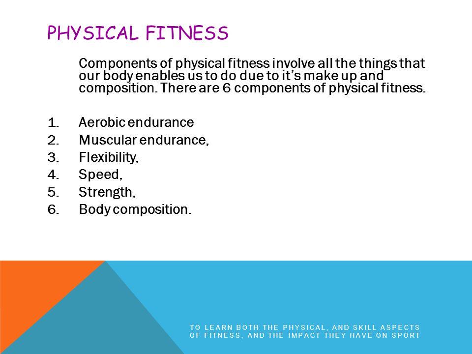 the 4 components of physical fitness
