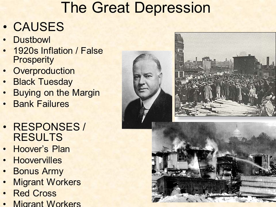 reasons for great depression essay The great depression was an economic depression that happened the decade after world war two in 1929 the five main reasons for starting the great depression are the stock market crash, bank failures, reduction in purchases across the board, american economic policy, and drought conditions.