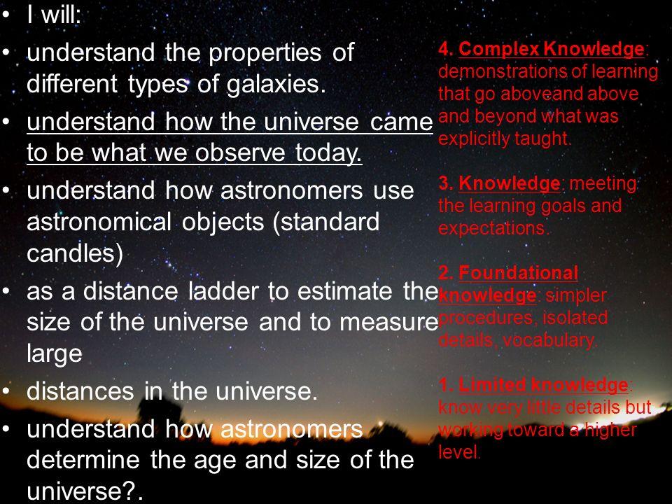 Learnin g Goals: I will: understand the properties of different types of galaxies.
