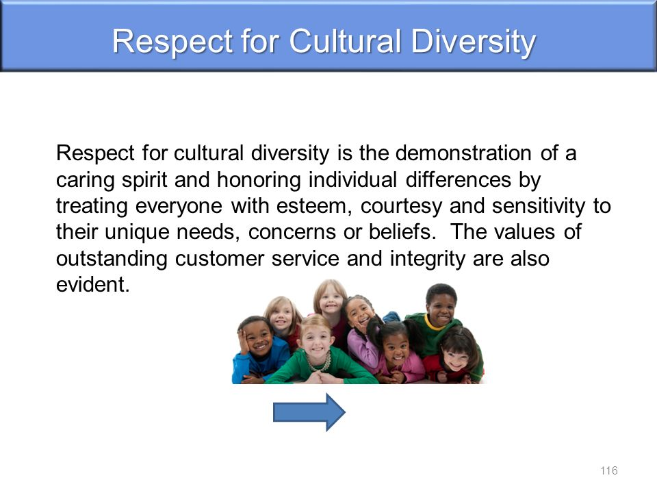 Respect for Cultural Diversity Respect for cultural diversity is the demonstration of a caring spirit and honoring individual differences by treating everyone with esteem, courtesy and sensitivity to their unique needs, concerns or beliefs.