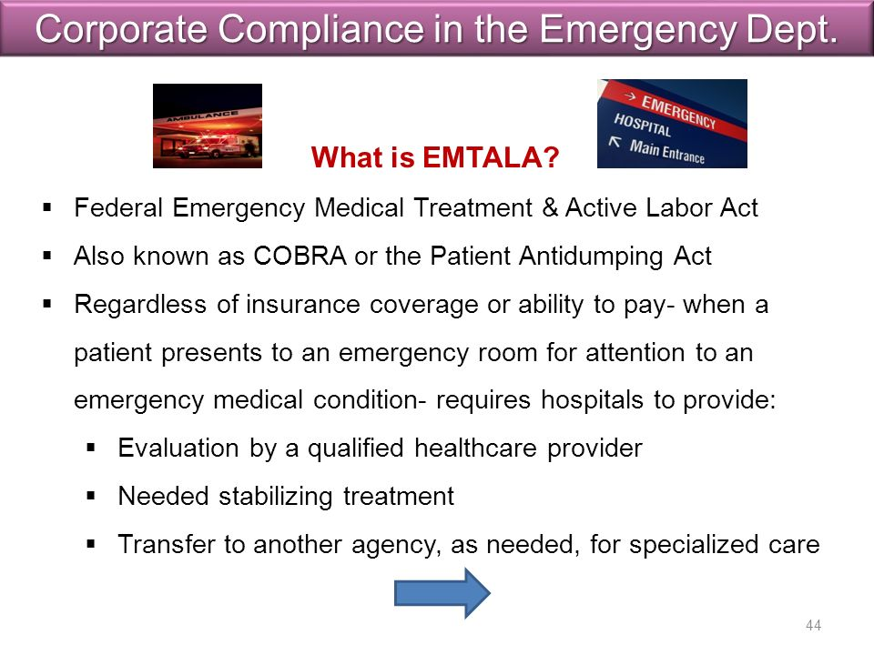 Corporate Compliance in the Emergency Dept. What is EMTALA.