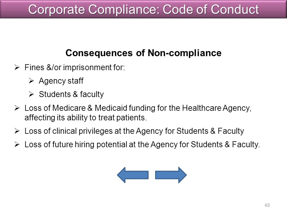 Consequences of Non-compliance   Fines &/or imprisonment for: Fines &/or imprisonment for:   Agency staff Agency staff   Students & faculty Students & faculty   Loss of Medicare & Medicaid funding for the Healthcare Agency, affecting its ability to treat patients.